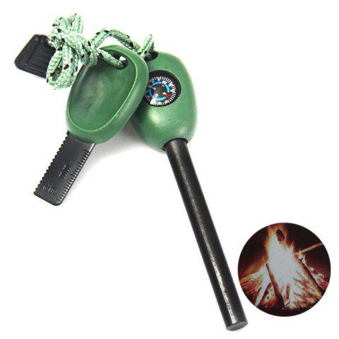Online 3D 4 in 1 Multi-function Fire Starter for Outdoor Survival GREEN