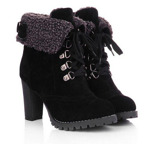 Fancy Suede Chunky Heel Booties BLACK 38