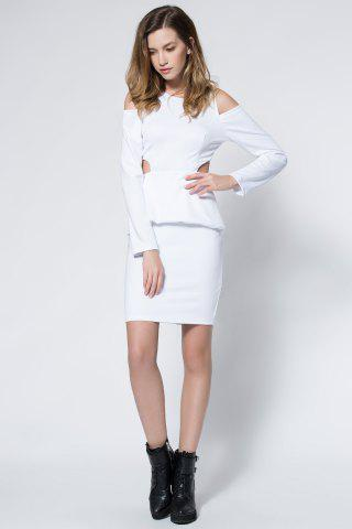 Outfits Crepe Cold Shoulder Cage Back Body-Conscious Dress - S WHITE Mobile