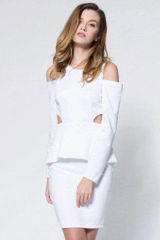 Trendy Crepe Cold Shoulder Cage Back Body-Conscious Dress WHITE S