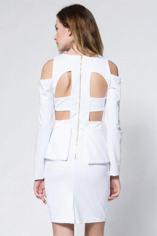 Outfit Crepe Cold Shoulder Cage Back Body-Conscious Dress - S WHITE Mobile
