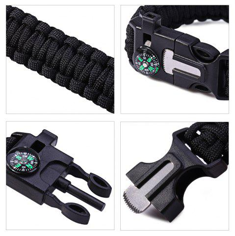 Unique 5 in 1 Outdoor Survival Gear Escape Paracord Bracelet Flint / Whistle / Compass / Scraper - BLACK  Mobile