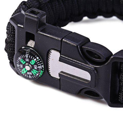 Outfit 5 in 1 Outdoor Survival Gear Escape Paracord Bracelet Flint / Whistle / Compass / Scraper - BLACK  Mobile
