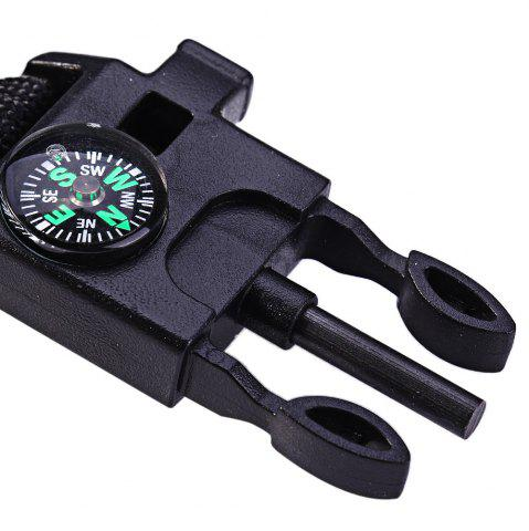 Discount 5 in 1 Outdoor Survival Gear Escape Paracord Bracelet Flint / Whistle / Compass / Scraper - BLACK  Mobile