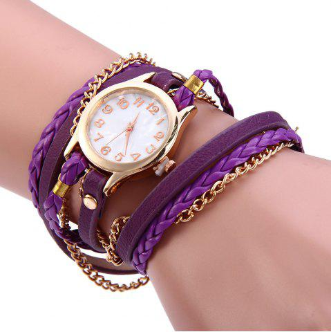 Hot Women Vintage Weave Wrap Leather Bracelet Wrist Watch