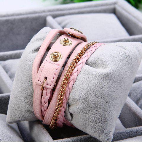 Affordable Women Vintage Weave Wrap Leather Bracelet Wrist Watch - PINK  Mobile