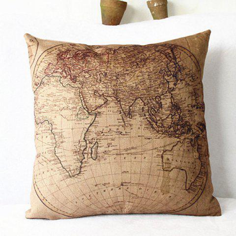 Sale Classical Linen World Map Pattern Decorative Pillowcase(Without Pillow Inner) - KHAKI  Mobile