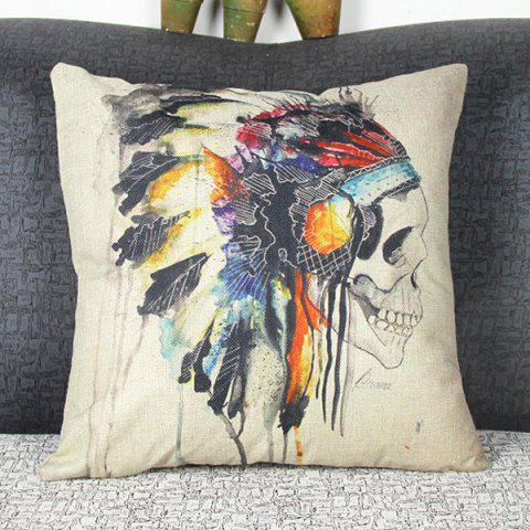 Unique Colorful Square Skull Pattern Decorative Pillowcase(Without Pillow Inner) - COLORMIX  Mobile