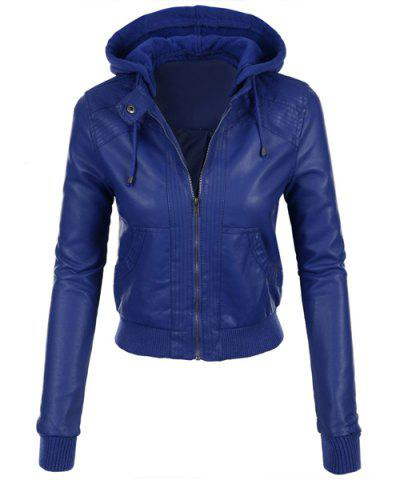 Stylish Hooded Long Sleeve Solid Color Faux Leather Spliced Women's Jacket - Sapphire Blue - M