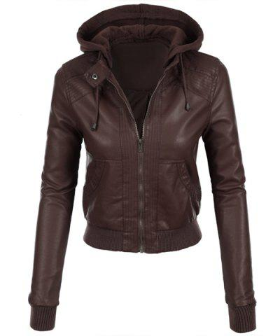 Stylish Hooded Long Sleeve Solid Color Faux Leather Spliced Women's Jacket - Brown - L