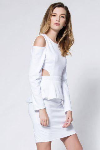 Outfit Crepe Cold Shoulder Cage Back Body-Conscious Dress - L WHITE Mobile