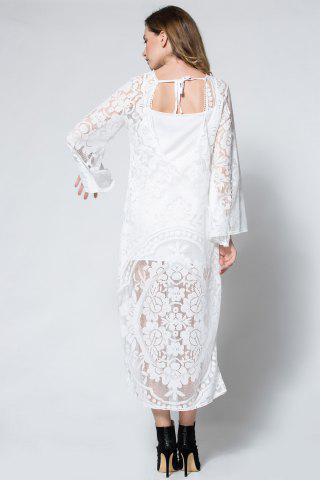 Online Flare Long Sleeve Backless Beach Maxi Lace Dress - S WHITE Mobile