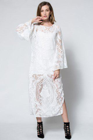 Affordable Flare Long Sleeve Backless Beach Maxi Lace Dress - S WHITE Mobile