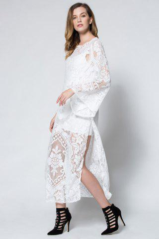 Discount Flare Long Sleeve Backless Beach Maxi Lace Dress - L WHITE Mobile