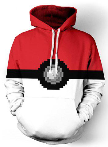 Color Spliced 3D Geometric Print Front Pocket Loose Fit Drawstring Hooded Long Sleeves Men's Hoodie - White - L