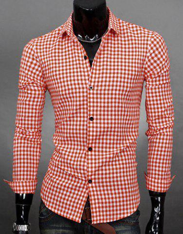 Buy Simple Shirt Collar Color Block Plaid Print Long Sleeves Men's Slimming - Orange L