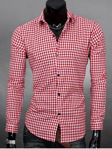 Buy Simple Shirt Collar Color Block Plaid Print Long Sleeves Men's Slimming - Watermelon Red Xl