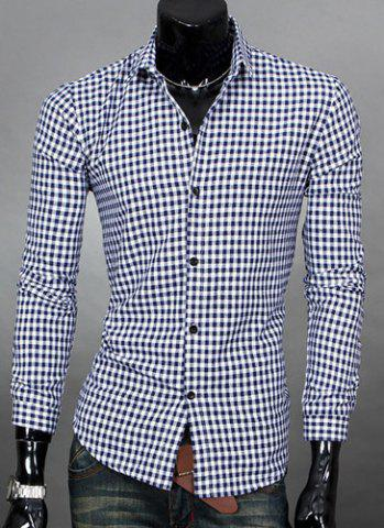 Buy Simple Shirt Collar Color Block Plaid Print Long Sleeves Men's Slimming - Purplish Blue M