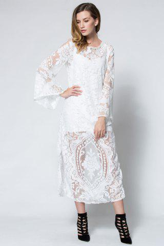 Lady Flare Long Sleeve Backless Beach Maxi Lace Dress - M WHITE Mobile