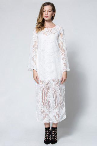 Affordable Flare Long Sleeve Backless Beach Maxi Lace Dress - M WHITE Mobile