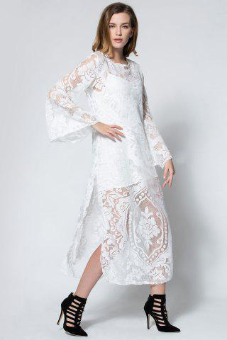 Womens Flare Long Sleeve Backless Beach Maxi Lace Dress - M WHITE Mobile