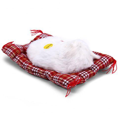 Fancy Simulation Animal Sleeping Cat Craft Toy with Sound - WHITE  Mobile