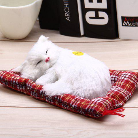 Simulation Animal Sleeping Cat Craft Toy with Sound - White