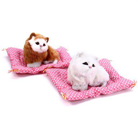 Outfit Simulation Animal Sleeping Cat Craft Toy with Sound - WHITE  Mobile