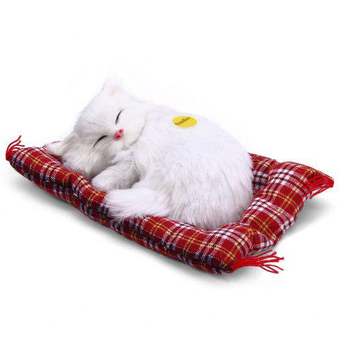 Discount Simulation Animal Sleeping Cat Craft Toy with Sound - WHITE  Mobile