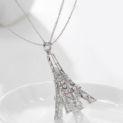 Fashion Romantic Rhinestoned Eiffel Tower Sweater Chain For Women - COOL WHITE LIGHT  Mobile