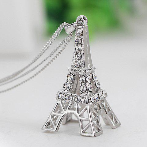 Hot Romantic Rhinestoned Eiffel Tower Sweater Chain For Women - COOL WHITE LIGHT  Mobile