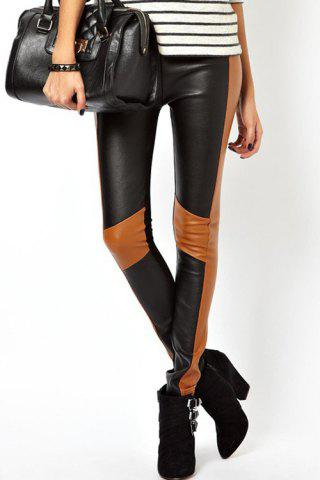 Slimming Color Block PU Leather Spliced Women's Skinny Pants - Black - S