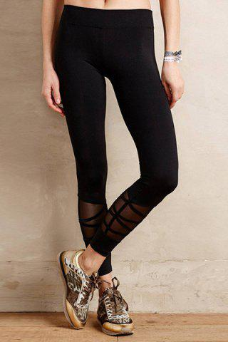 Hot Casual Style Black Voile Spliced Women's Leggings BLACK M