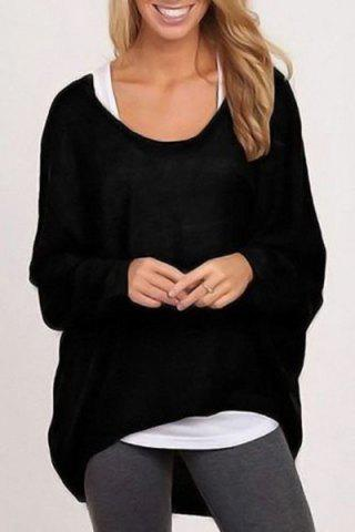Casual Style Scoop Neck Long Sleeve Pure Color Loose Women's T-Shirt - Black - S