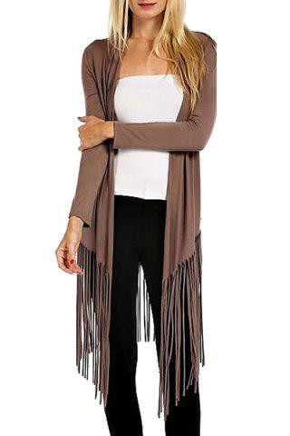 Store Casual Open Front Long Sleeve Tassels Women's Trench Coat - XL BROWN Mobile