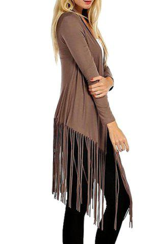 Shop Casual Open Front Long Sleeve Tassels Women's Trench Coat - XL BROWN Mobile