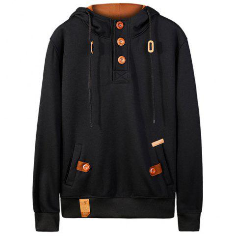 Outfit Hooded Half Button Up Pullover Hoodie