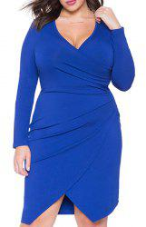 Sexy Plunging Neck Long Sleeve Asymmetrical Plus Size Women's Dress