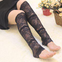 Pair of Chic Solid Color Jacquard Foot Step Lace Leg Warmers For Women -