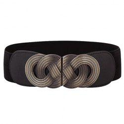 Chic Hollow Out Metal Buckle Elastic Waistband For Women -