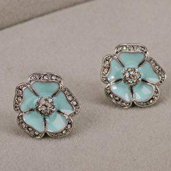 Rhinestone Embellished Flower Earrings -