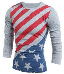 Vogue Slimming Round Neck American Flag Print Color Block Men's Long Sleeves T-Shirt - GRAY