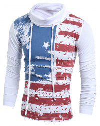 Heaps Collar American Flag Long Sleeves T-Shirt