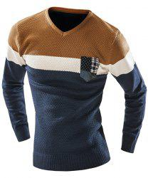 Checked Pocket Color Lump Spliced Geometric Pattern V-Neck Long Sleeves Men's Slimming Sweater - CADETBLUE
