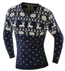 Hot Sale V-Neck Christmas Snowflake Fawn Intarsia Color Block Slimming Men's Long Sleeves Sweater - CADETBLUE