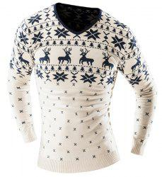 Hot Sale V-Neck Christmas Snowflake Fawn Intarsia Color Block Slimming Men's Long Sleeves Sweater - OFF-WHITE