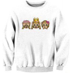 Simple Cartoon Pattern Long Sleeve Jewel Neck Sweatshirt For Women