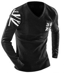 One Pocket Union Jack Intarsia Geometric Pattern Slimming V-Neck Long Sleeves Men's Sweater -