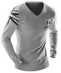 One Pocket Union Jack Intarsia Geometric Pattern Slimming V-Neck Long Sleeves Men's Sweater