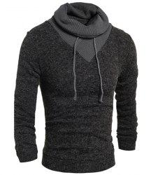 Personality Drawstring Turtleneck Color Block Spliced Long Sleeves Men's Slimming Thicken Sweater - DEEP GRAY